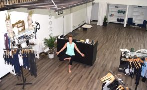 House of AUM, the Kings Yard yoga shop, expanded to the former home of Rita Caz in June. Pictured here in the renovated space is owner Melissa Herzog. The business recently received a Village Inspiration and Design Award, or VIDA, for its new look. (Photo by Jessica Sees)