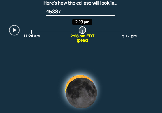 Yellow Springs will experience a partial eclipse of the sun at around 2:28 p.m. on Monday, Aug. 21.