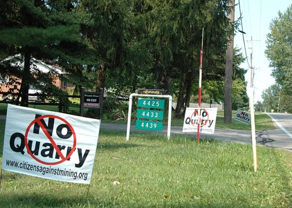 """""""No Quarry"""" yard signs created by a local citizens group, Citizens Against Mining, peppered yards along South Tecumseh Road near Greenon High School on a recent weekend. In July, the state of Ohio approved expanded limestone mining operations in Mad River Township, just north of Yellow Springs, intensifying oppposition from area residents. (Photo by Audrey Hackett)"""