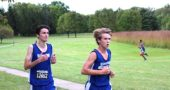 Yellow Springs High School students Kaden Boutis, left, and Pete Freeman took part in last Saturday's Graham Cross Country Invitational in St. Paris, Ohio. (Photo by Zack Brintlinger-Conn)