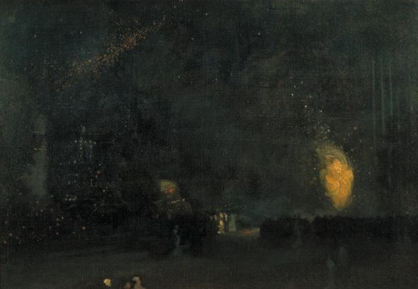 """James Abbott McNeill Whistler, """"Nocturne: Black and Gold - The Fire Wheel,"""" 1875. (Via the Tate, UK, licensed under Creative Commons)"""