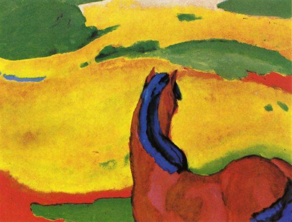 "Franz Marc, ""Horse in a landscape,"" 1910. (Via Wikiart)"