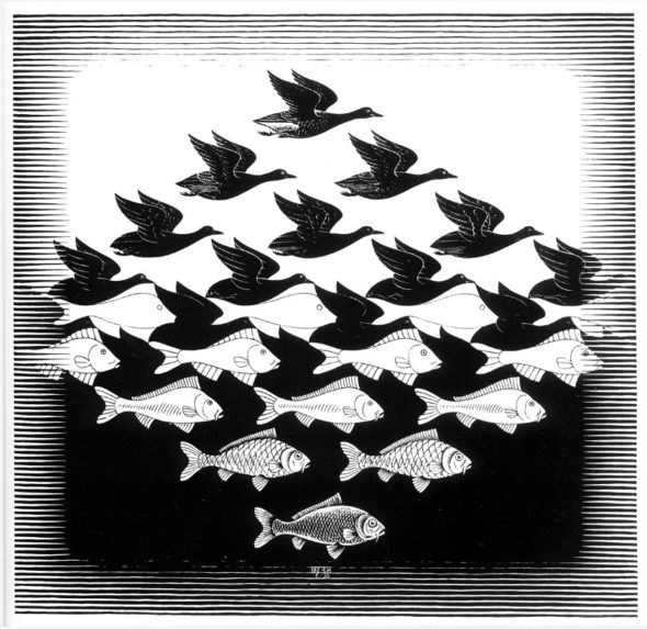 "M.C. Escher, ""Sky and Water I,"" 1938 (Via Wikiart)"