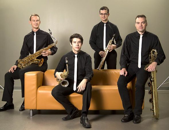 Project Fusion, a saxophone quartet, will perform on Sunday, Oct. 29, at 7:30 p.m. at the First Presbyterian Church, presented by Chamber Music in Yellow Springs. Members include Michael Sawzin, tenor saxophone; Matthew Amedio, alto saxophone; Dannel Espinoza, soprano saxophone; Matt Evans, baritone saxophone. (Submitted photo)