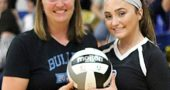 Yellow Springs High School senior Payden Kegley was recently recognized for reaching 1,000 digs during her high school volleyball career. She is pictured here with Coach Christine Linkhart. (Submitted photo)