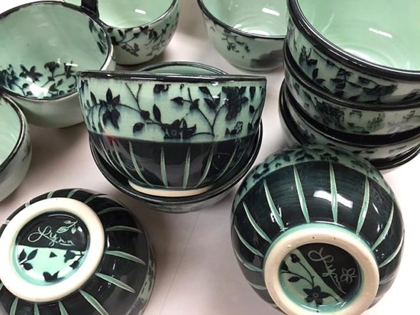 Artwork from more than 30 regional artists will be featured at the sixth annual Art & Soul art fair, this Saturday, Nov. 18, at Mills Lawn School, from 10 a.m. to 5 p.m. Included are pottery from Lynn Riewerts Carnie. (submitted photo)