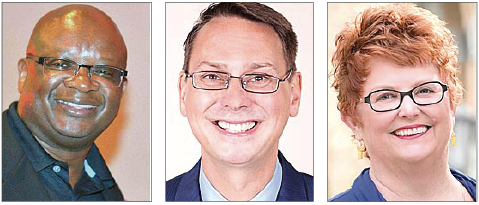 Village council: Challenger Kevin Stokes, left, was the top vote-getter in Tuesday's election, followed by incumbent Brian Housh and Lisa Kreeger. (News file photos)