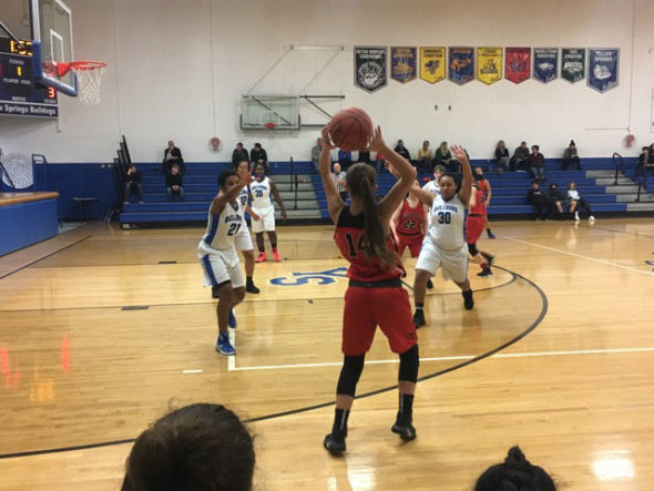 YSHS girls played against Springfield on Monday, Nov. 27. Although the team is currentlhy on a two-game winning streak, they lost the game against Springfield 88–21. (submitted photo by Zachary Brintlinger-Conn)