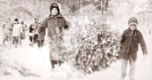 A Yellow Springs News photo from December 1973 shows resident Ethel Bender and her son, Michael, with the Christmas tree they selected at that year's School Forest Festival. (Photo courtesy of Scott Sanders, Antiochiana)