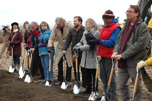 Last Thursday, Dec. 14, Village leaders assembled for the groundbreaking ceremony for Cresco Labs. Shown above are, from left, Cresco Advisory Board member Kat Walter, Village Assistant Manager Melissa Dodd, former Community Resources leader Ellen Hoover, incoming Miami Township Trustee Don Hollister, Village Manager Patti Bates, Cresco Advisory Board member Malte Von Matthiessen, Cresco President Charlie Bachtell, Village Council President Karen Wintrow and Council members Gerry Simms, Brian Housh and Marianne MacQueen (obscured in front). Not pictured is Miami Township Trustee Chris Mucher. (Photo by Diane Chiddister)