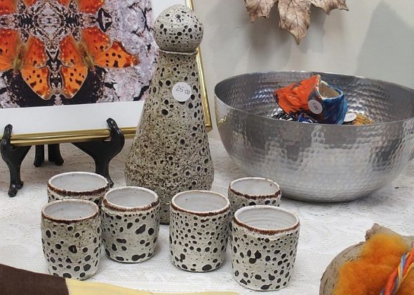A hand-crafted sake set is one of the many items on display — and for sale — at the annual Holiday Art Jumble, presented by the Yellow Springs Arts Council at the group's gallery through Dec. 31. The Jumble serves as the Arts Council's final show of the calendar year as well as its biggest fundraiser. (Submitted photo)