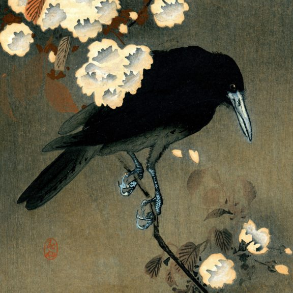 "Detail from ""Crow and blossom,"" Ohara Koson, woodblock print, circa 1910. (Via Wikimedia.org)"