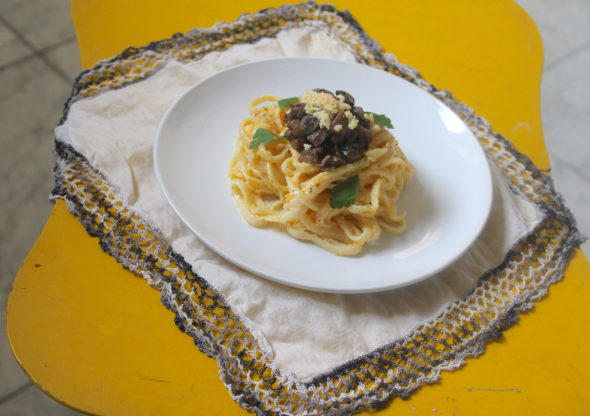 Linguine with butternut ricotta sauce and mushroom bolognese; one of the menu items that will be featured at the pop-up dinner hosted by vegan chef Clara Polito on Saturday, Dec. 10 at the Foundry Theater's experimental theater.