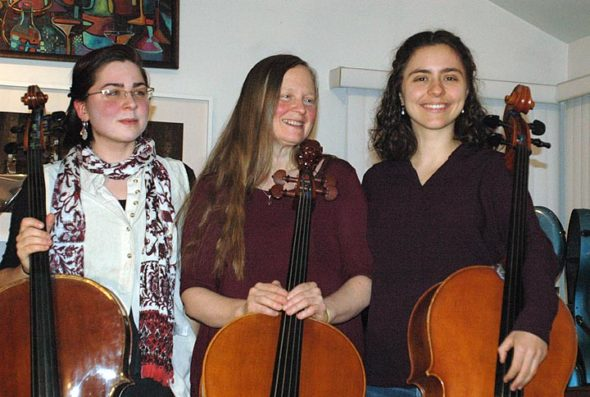Cello Springs Festival, an 11-day cello extravaganza, returns to Yellow Springs with a series of public, semi-public and private events through Saturday, Jan. 13. From left, are co-directors Miriam and Lisa Liske-Doorandish and Chiara Enderle. (Photo by Carol Simmons)