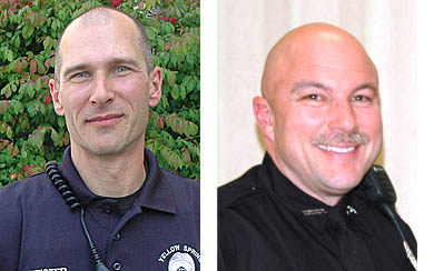 Current Officers David Meister, left, and Jeff Beam were recently promoted to positions of corporal in the Yellow Springs police department. They will have supervisory responsibilities.