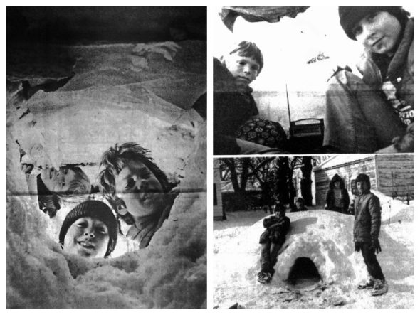 """The paper's caption for these photos reads: """"ESKIMO weather demands Eskimo shelter, so four Yellow Springs youngsters built an igloo last week. Making snow bricks formed in milk carton molds, these snowfolks fashioned a cozy dwelling big enough for two (plus, with a bit of squeezing, New photographer Bill McCuddy). In photo at bottom right, posing with their igloo are (left to right) Spike Peyroux, Michael Young, Lisa Love and Jon Kadish. At left, peeking from outside in at the camera lens, are (clockwise) Jon, Spike and Michael, with Lisa partially obscured in background. And settling in with a bedroll and a radio are Michael Young and Spike Peyroux. The clever project took about a week to complete."""""""