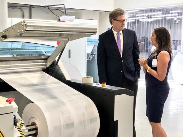 On Monday, May 15, 2017, U.S. Rep. Mike Turner visited DMS ink corporate headquarters on Dayton Street. The visit included a tour of the offices and production facility followed by a meeting with company owner, President and CEO Christine Soward. (Submitted photo)