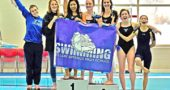 The YSHS girls swam to their third straight Metro Buckeye Conference Championship this year, capturing first place in an astounding six out of the 11 events. Pictured here are members of the winning team, including, from left, Ellery Bledsoe, Aza Hurwitz, Sara Zendlovitz, Madison Werner, Eden Spriggs, Natalie Galarza and Jude Meekin. All finished in the top eight in their individual events, with team captains Spriggs and Meekin winning all of their individual events. The girls 200 medley relay and 400 free relay also won, with the 400 free relay team setting a new MBC record. (Submitted photo by Kathleen Galarza)