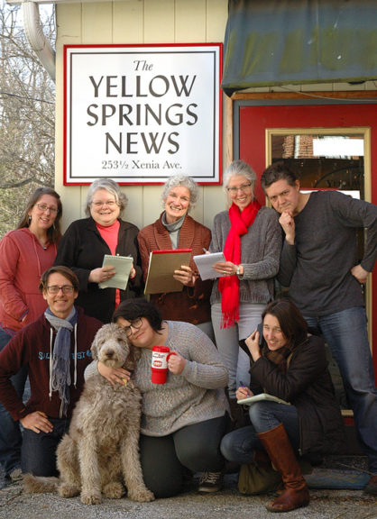 "Small town, big win: The Yellow Springs News won the top prize, Newspaper of the Year, in its size category for the eighth year in a row at last week's Ohio News Media Association conference in Columbus. See an article on the win on page 7. Shown above is the News staff: front row from left, Advertising Director Robert Hasek, Eternity the news­hound, Village Desk Editor Lauren ""Chuck"" Shows and Reporter Megan Bachman. In back from left, Designer Suzanne Szempruch, Reporter Carol Simmons, Editor Diane Chiddister, Reporter Audrey Hackett and Designer Matt Minde. (Photo by the self-timer)"