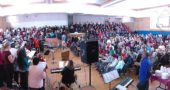 A panorama view of the Bryan Center during the 2018 MLK Jr Celebration (Photo by Matt Minde)
