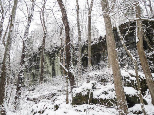 Clifton Gorge in winter. (Photo from Ohio Division of Natural Areas and Preserves Facebook page.)