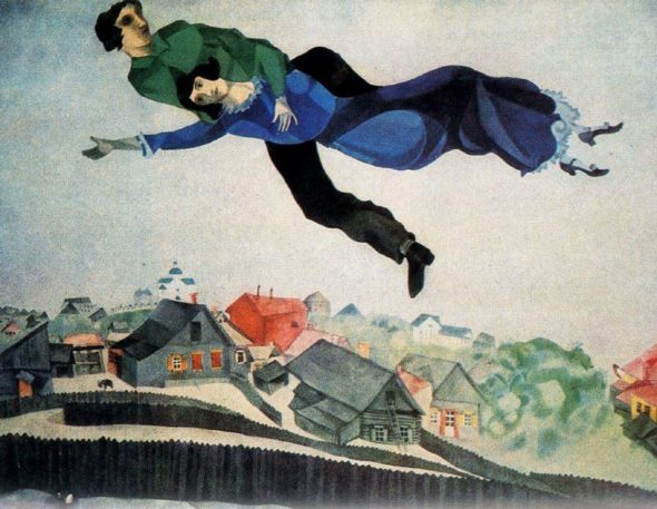 "Marc Chagall, ""Over the Town,"" 1918. (Via Wikiart.org)"