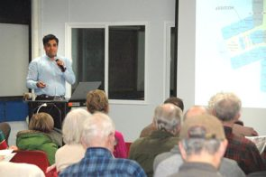 About 75 people attended an informational community forum, presented by the Yellow Springs Schools district Thursday, March 1, in the high school cafeteria, concerning replacement and renovation plans at the middle/high school facility on East Enon Road. Shown is Superintendent Mario Basora presenting the plan. (Photo by Carol Simmons)