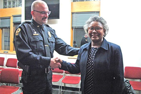 """At Village Council's March 5 meeting, Police Chief Brian Carlson announced that Florence Randolph of Yellow Springs has been hired as the first community outreach specialist in the Yellow Springs Police Department. She will begin her new job on April 2. The new position was created in response to a recommendation from the Justice System Task Force to address the many social work-related calls that police receive. According to a press statement from Carlson, Randolph brings to the job """"a wealth of knowledge in social work and working with the justice system."""" (Photo by Diane Chiddister)"""