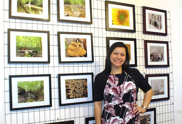 Photos by Yellow Springs Police Officer Luciana Lieff are currently on display at S & G Artisan Distillery, located in MillWorks and open until 8 p.m. on Saturdays and 6 p.m. on Sundays. (Photo by Diane Chiddister)