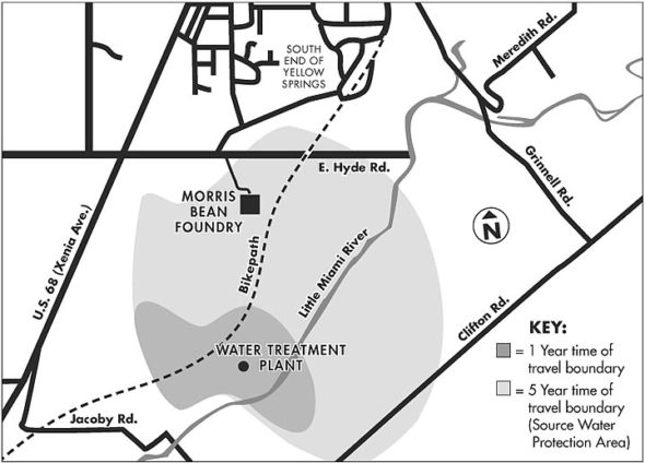Local drinking water comes from a wellfield south of town located near the water treatment plant. The area that collects water within a five-year time-of-travel to the wellfield is known as the source water protection area. The 2001 Wellhead Protection Plan identifying this area was recently updated by the Environmental Commission, with new strategies for protecting the aquifer that is the source for local drinking water. (Source: Yellow springs Wellhead Protection Plan)