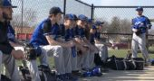 Members of the YSHS varsity baseball team are all smiles before the start of the April 12 game at Belmont High School. The Bulldogs would go on to win the game 13-5. Pictured left to right are Tony Marinelli, Dylan Rainey, Colton Bittner, Eric Romohr, Trey Anderson, Jasiah Zinger-Mitchell, Eli Cordell, Travis Scarfpin and Donnie Isenbarger. (Submitted photo by Eleanor Anderson)