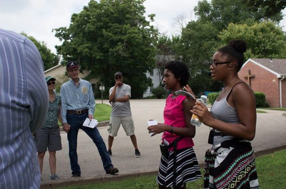 "Tour guides Malaya Booth, left, and Annlyn Foster speak outside Central Chapel AME Church during a ""Blacks In YS"" walking tour in 2017."