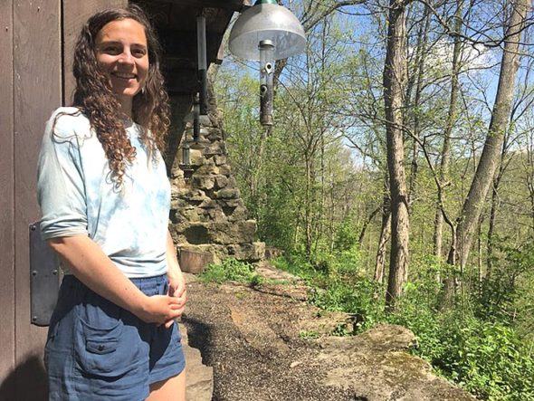 Environmental educator Emily Foubert has started the Bird Language Club at Glen Helen's Trailside Museum on the second Saturday of each month. The next meeting, open to all, is this Saturday, May 12, from 9 a.m. to noon. (Photo by Diane Chiddister)