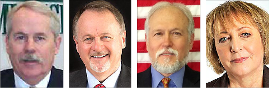 At left, Incumbent Greene County Commissioner Alan G. Anderson and the three candidates vying for that position: serving Greene County Treasurer Dick Gould, who is challenging Anderson in the Republican primary; physician Steven Bujenovic and Susan Lopez, program manager at a family resource center in Bellbrook, who are opposing each other in the Democratic primary. (All photos submitted; far right photo by Flash Photography Studios)