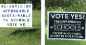 "In the past few weeks signs for and against the school facilities levy have sprouted up around town, as shown above. The ""Vote No' signs won the day. (Photos by Megan Bachman)"
