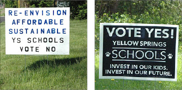 """In the past few weeks signs for and against the school facilities levy have sprouted up around town, as shown above. The """"Vote No' signs won the day. (Photos by Megan Bachman)"""
