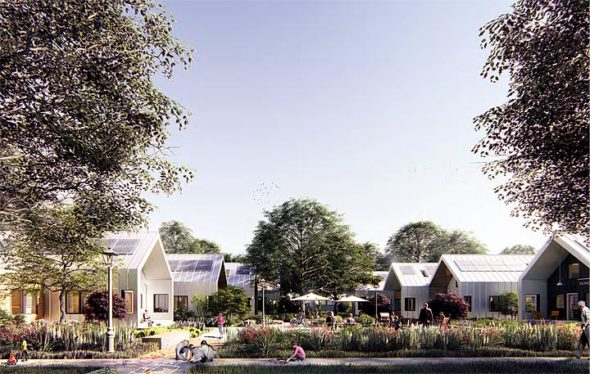 "Antioch College is now looking for buyers for an eight-unit pocket neighborhood on East North College Street, the first phase of the Antioch College Village project. The designs of the neighborhood and its ""deep green"" homes, shown here in an architect's rendering, were unveiled at a meeting last Thursday, May 24. Four of the envisioned units can be seen across a shared community area. (Rendering courtesy of McLennan Design)"