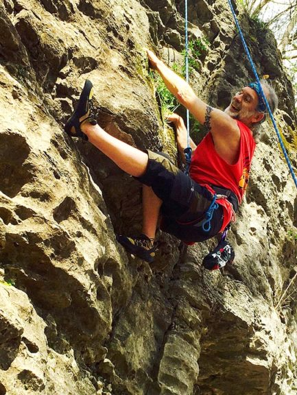 "Villager Jeff ""Pan"" Reich has enjoyed rock climbing for 50 years, starting at John Bryan Park when he was 13. He and his wife, Jane Hockensmith-Reich, regularly climb at a downtown Dayton climbing gym and the Red River Gorge in Kentucky. (Submitted photo)"