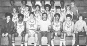 Submitted Photo Yellow Springs Athletic Hall of Fame inductee Charlie Coles, front row center, led the 1972 YSHS boys basketball team to a district title as its coach. Coles, who died in 2013, went on to win more games at Miami University than any other coach. (Submitted photo)