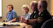 Greene County Sheriff Gene Fischer and Maj. Kirk Keller raised concerns about the deterioration of the county jail at the James A. McKee Group meeting, held at Antioch University Midwest recently. From left: Jonathan Platt, Yellow Springs Mayor Pam Conine, Sheriff Fischer, Maj. Keller. (Photo by Morgan Beard)
