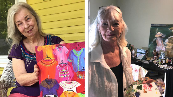 "Local artist Anna Arbor, left, and former villager Catherine Lehman will exhibit together at the YSAC Community Gallery in ""Places Far, Near and Dear"" through Aug. 12. An opening reception with the artists is Friday, July 20, from 6 to 9 p.m. at the gallery, 111 Corry St.  (Left photo by Carla Steiger; right, submitted photo)"