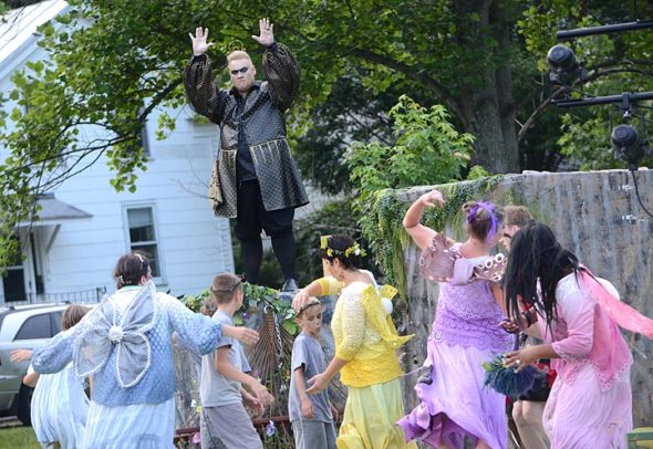 "Robert Campbell as the Fairy King Oberon commands his denizens in YSTC's production of Shakespeare's ""Midsummer Night's Dream."" (Photo by Megan Bachman)"