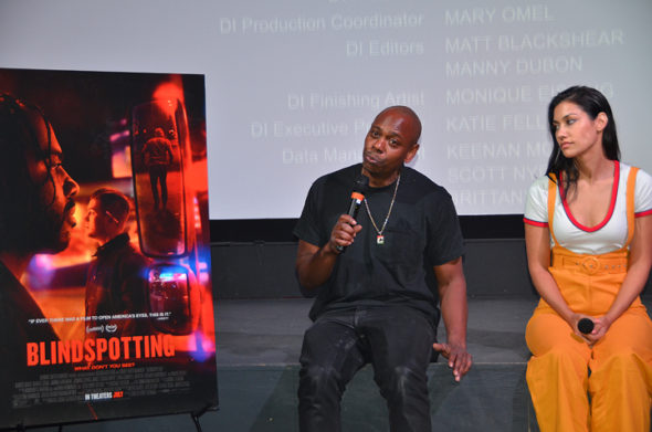 "Comedian/actor Dave Chappelle and musician/actor Janina Gavankar host a Q&A session at the Little Art Theater,Thursday, July 19, at screening of ""Blindspotting."" (Photo by Robert Hasek)"