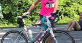 Villager Diana Castellano, pictured here in a recent race, has qualified to compete in multiple biking and swimming events as well as the triathlon competition at the 2019 National Senior Games, popularly called the Senior Olympics, to be held in June in Albuquerque, N.M. Longtime Yellow Springs resident Cheryl Meyer, not pictured, qualified to compete in four swimming events. Both women swim with the Dayton Sharks team. (submitted photo)