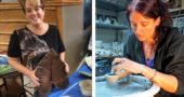 Julie Phipps, left, showcased her leaves cast in cement and Tara Anderson, right, worked recently on her wheel-thrown pottery at her home studio. The two local artists are among the 100 who will sell their wares at the 35th annual Art on the Lawn on Saturday, Aug. 11, from 10 a.m. to 5 p.m. outside at Mills Lawn Elementary School. (photo by Carla Steiger (left), submitted photo)