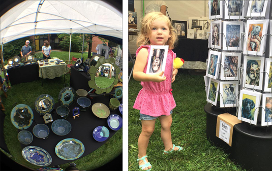 Left is the booth of ceramic artist Deborah Alexander Updike of  Franklin, Ohio, and right is little art fair-goer Willow Christenson of Yellow Springs. The yearly event is run by Village Artisans.   (photos by Carla Steiger)