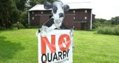 "A ""No quarry"" sign stands on the Vanderglas family farm along Garrison Road in Mad River Township two miles north of Yellow Springs, near the first phase of a proposed limestone mine. (photo by Megan Bachman)"