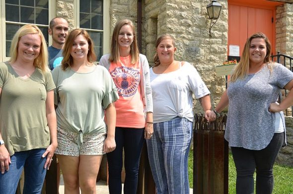 Yellow Springs Schools welcomes six newly hired teachers to the district this school year. From left: Amanda Kinney, first-grade; Joe Carr, Mills Lawn PBL foundations; Courtney O'Connor, middle school social studies; Alicia Horvath, middle school math; Naomi Hyatt, third- and fourth-grade intervention specialist; Emily Cormier, high school art. (Photo by Carol Simmons)