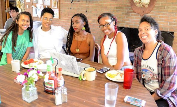 A group of incoming Antioch students dined on Mediterranean-style food at the Birch Hall's dining hall last week. From left is India Nunn, Bre Chaver, Akili Hayden, Ashanti Walker and Amanda Seigel. (Photo by Megan Bachman)