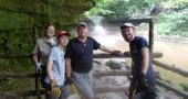 From left, Glen Helen Ranger Susan Smith picked up litter and cleaned graffiti in the nature preserve with volunteers Dean Alkire, Dave Alkire and Brad Arledgeon one Saturday this summer. The weekly cleanup crew, known as Guardians of Glen, assembles every Saturday from 1–3 p.m., meeting at Trailside Museum. It is open to all, and gloves are recommended. (Photo by Nakia Angelique)